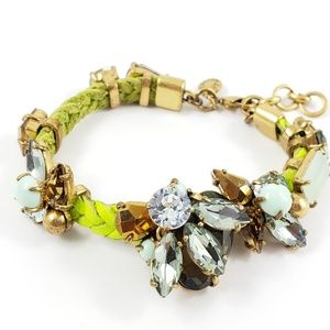 J. Crew Statement Bracelet Rhinestones + Leather